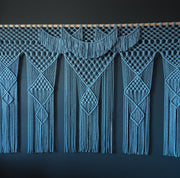 Extra Large Macrame Wall Hanging 2m wide - Dolina Blue