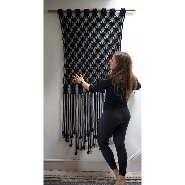 Large Black Boho Macrame Wall Hanging - Sino