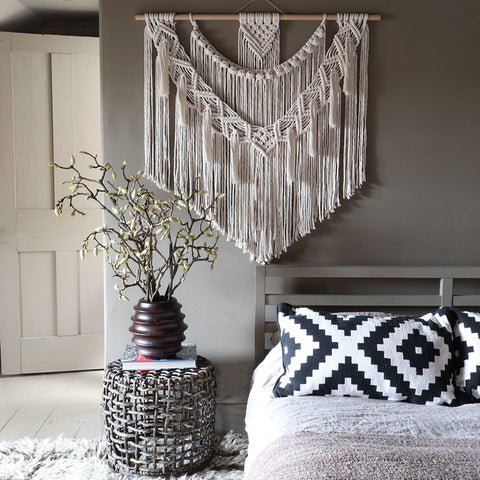 large tassel boho wall hanging Dina - Fiber Art UK