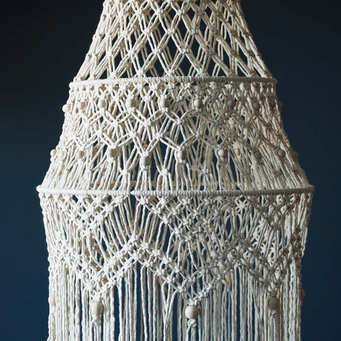 Boho Macrame Chandelier Light – White/Beige – Lisa