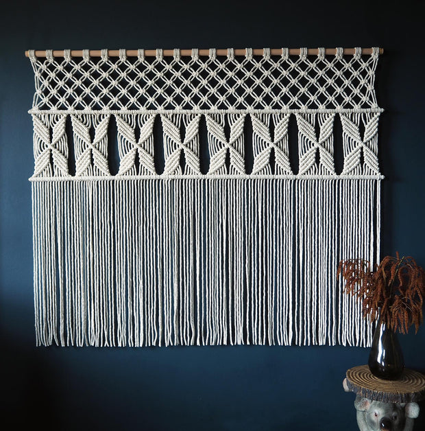 Wide Macrame Curtain/Wall Hanging UK - Roleta - The Knotted Touch