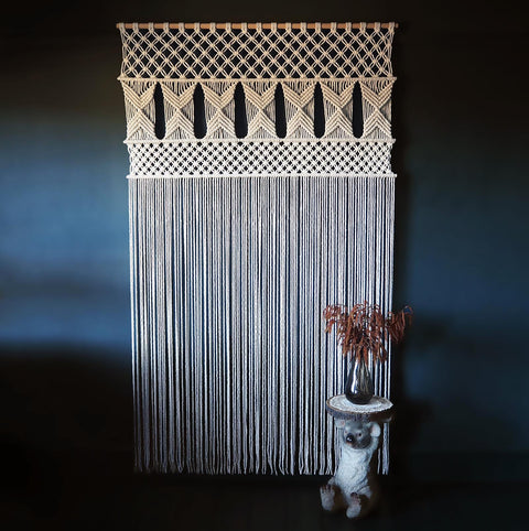 Large Macrame Curtain - Macrame Room Divider UK