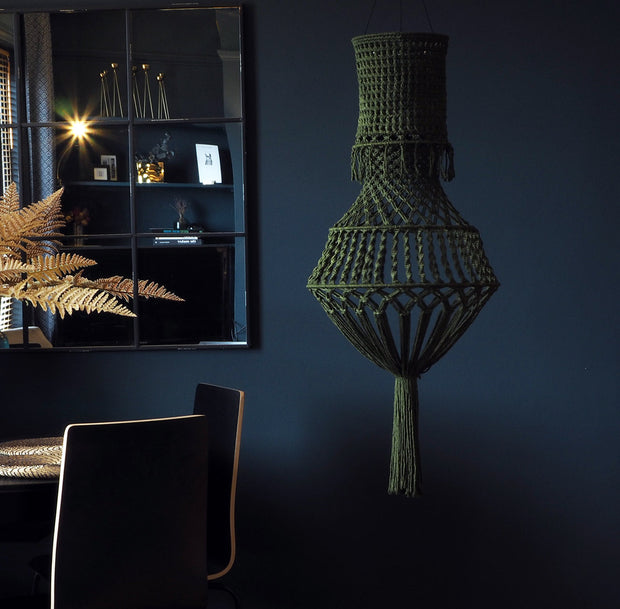 Boho  macrame Chandelier Light Shade – Solivi, Olive Green