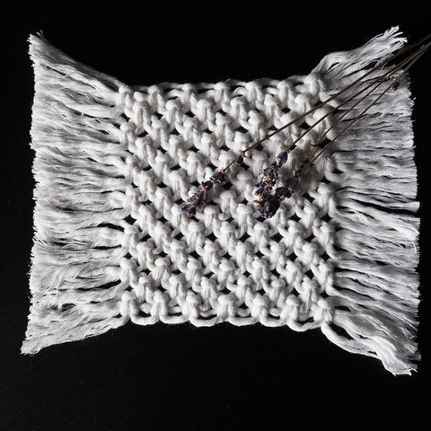 Boho Macrame Coasters – White – Set of 2