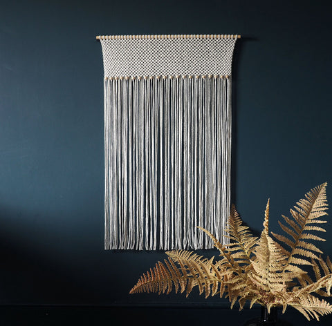 Macrame Curtain/Divider, Large Wall Hanging With Beads
