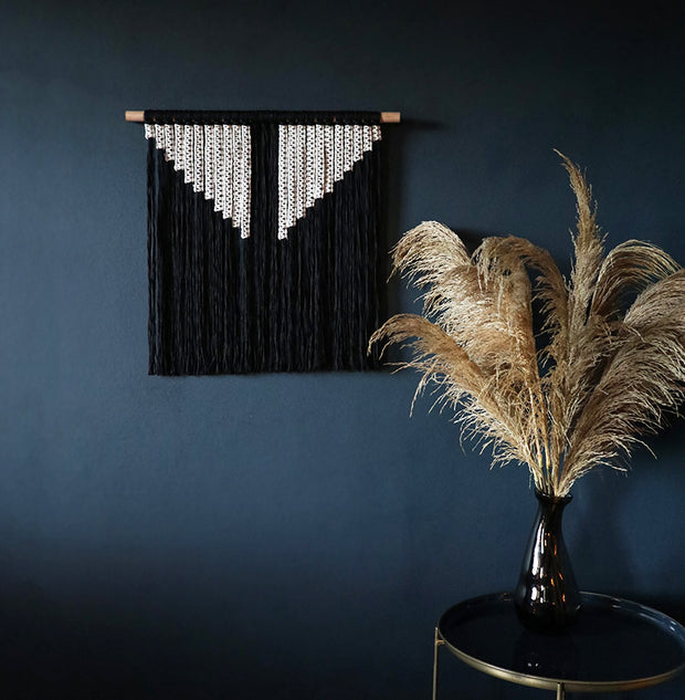black and white macrame wall hanging tila