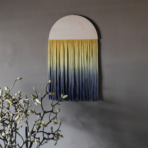 Round Ombre Yellow & Blue Boho Wall Hanging - Sona