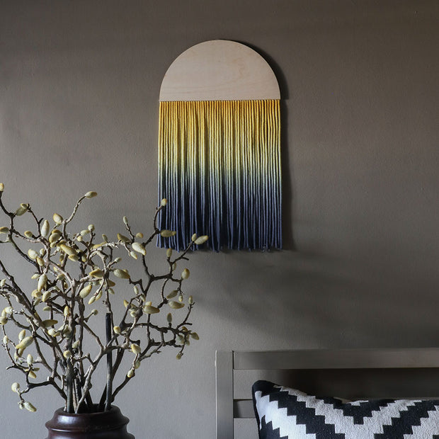 Round Ombre Yellow & Blue Boho Wall Hanging - Sona - Boho wall art UK