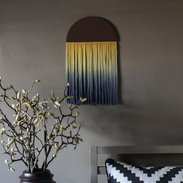 Round Ombre Yellow & Blue Boho Wall Hanging - Sona - Boho Wall Hangings UK