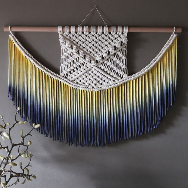 Ombre Yellow & Navy Blue Wall Hanging - The Knotted Touch UK