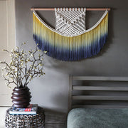 ombre blue and yellow wall hanging