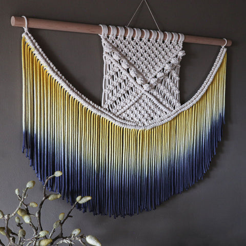 Ombre Yellow & Blue Wall Hanging - Elena