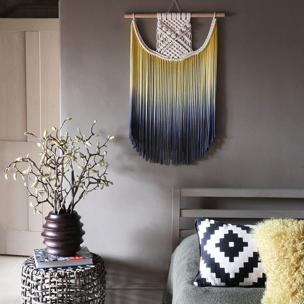 Yellow & Blue Ombre Macrame Wall Hanging – Terna