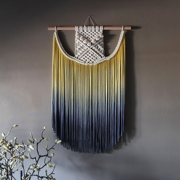 ombre yellow and blue wall hanging terna - the knotted touch wall art uk