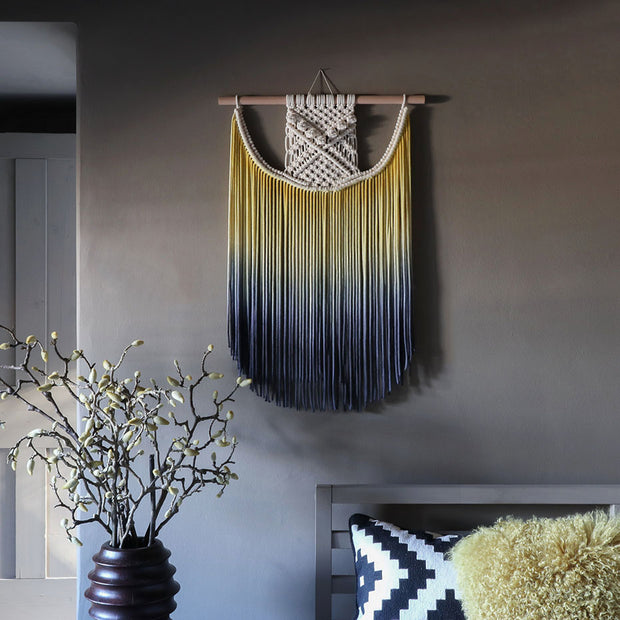 ombre yellow and blue wall hanging terna