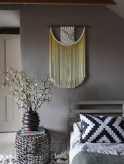 dip dyed ombre yellow macrame wall hanging