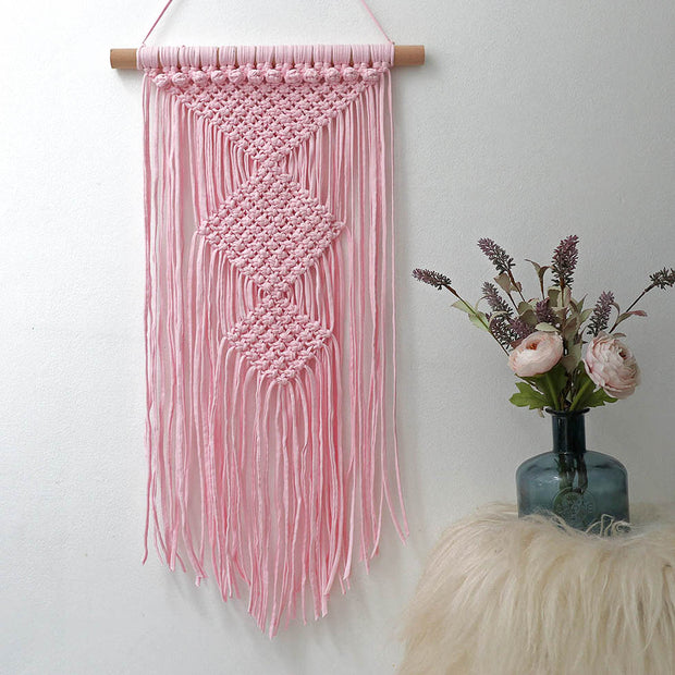 blush pink macrame wall hanging