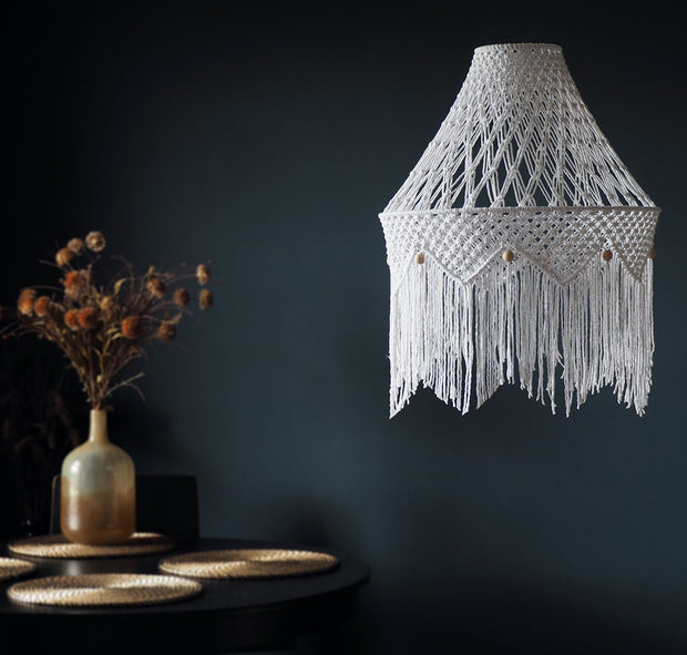 Boho Macrame Lamp Light Shade – Miliano - White