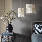Boho Tassel Raffia Light Shade - Komba White