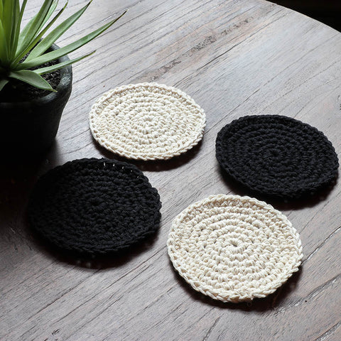 Boho Coasters – Set of 4 - Kona Natural & Black