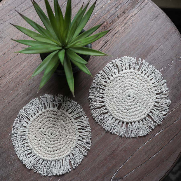 Boho Tassel Coasters – Set of 4 - Opeto