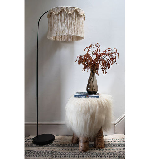 tassel fringed ceiling and floor light shade