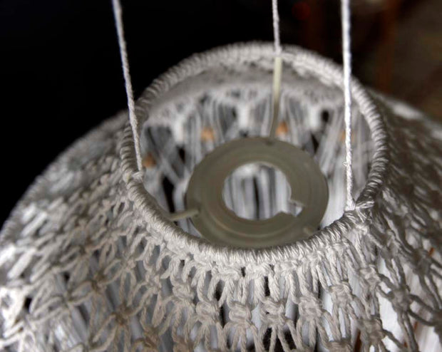 Boho Macrame Lampshade White - June