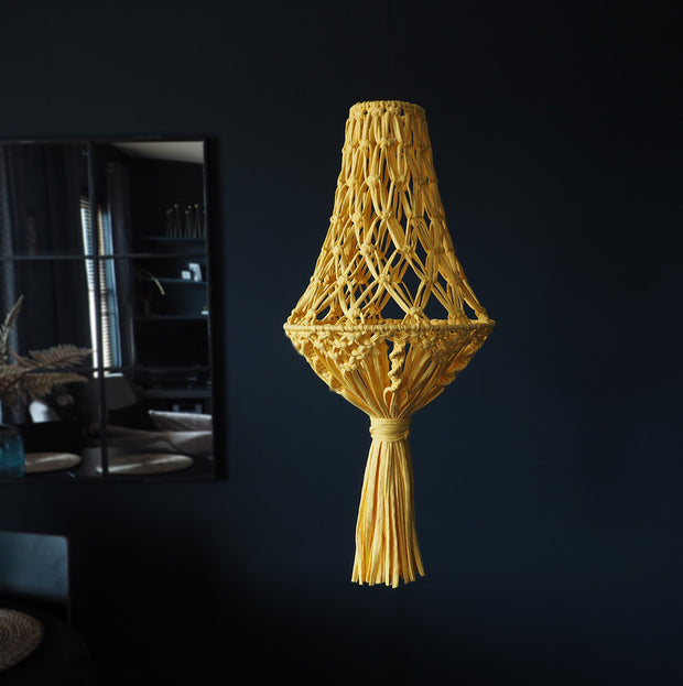 Yellow Boho Macrame Light Shade - Etienne