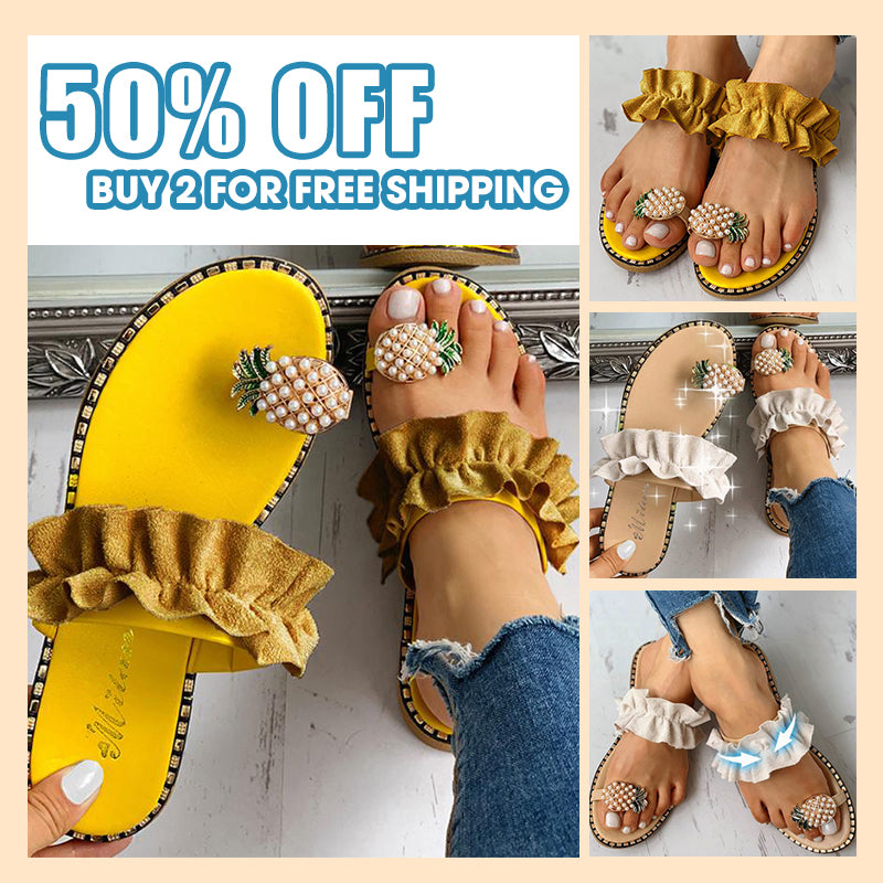 Cute Pineapple Flat Summer Sandals