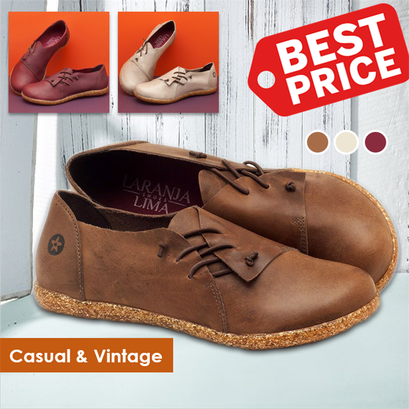 Women's Flat Comfortable Slip-on Lace Leather Shoes