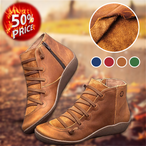 Flat Heel  Soft Leather Comfy Boots