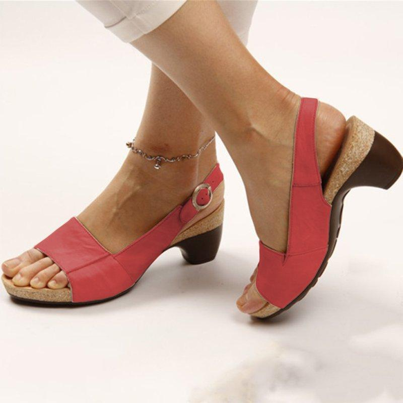2019 Summer Women's Low Chunky Heel Comfort Sandals