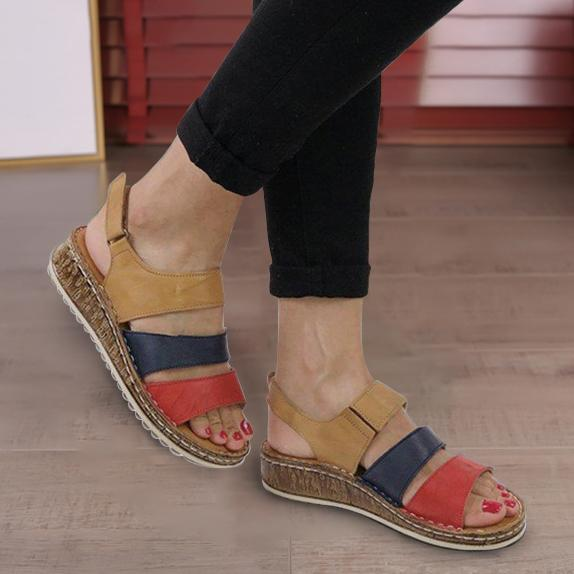 2019 New Fashion Stitching Block Wedges Women's Sandals