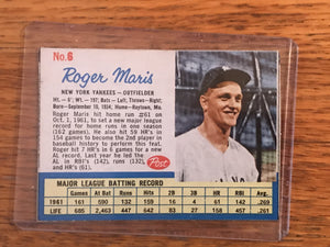 1961 Post Cereal Roger Maris | Baseball Card by Post