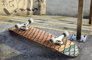 Orange Scale Print Skateboard