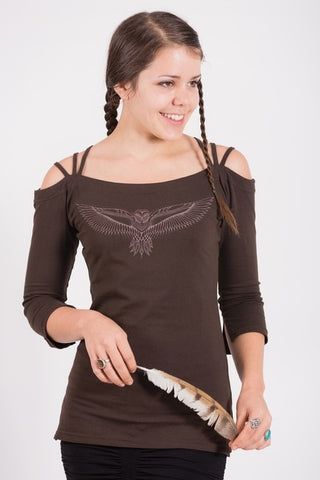 Leom Half-Sleeve Owl Top