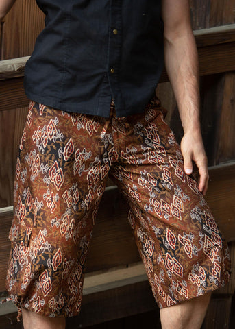 Batik Shorts - Brown & Black Cloud