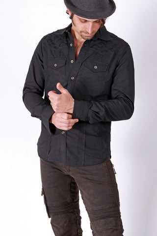 PR Org. Soulstice Shirt - Black with Gold Stitch
