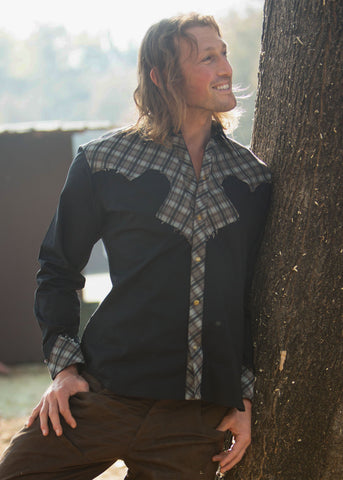 Cowboy Shirt - Black w/Brown Plaid