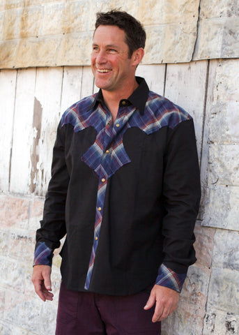Cowboy Shirt - Black w/Red Blue Plaid