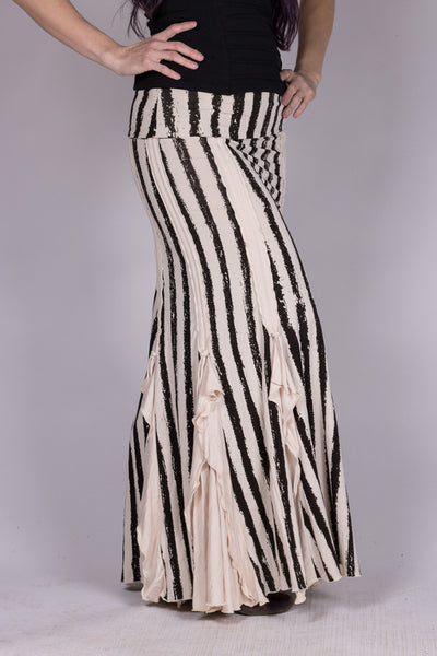 Flamenco Skirt - Cream/Black Stripes
