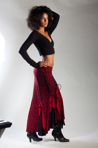 Flamenco Skirt - Red/Black Victorian