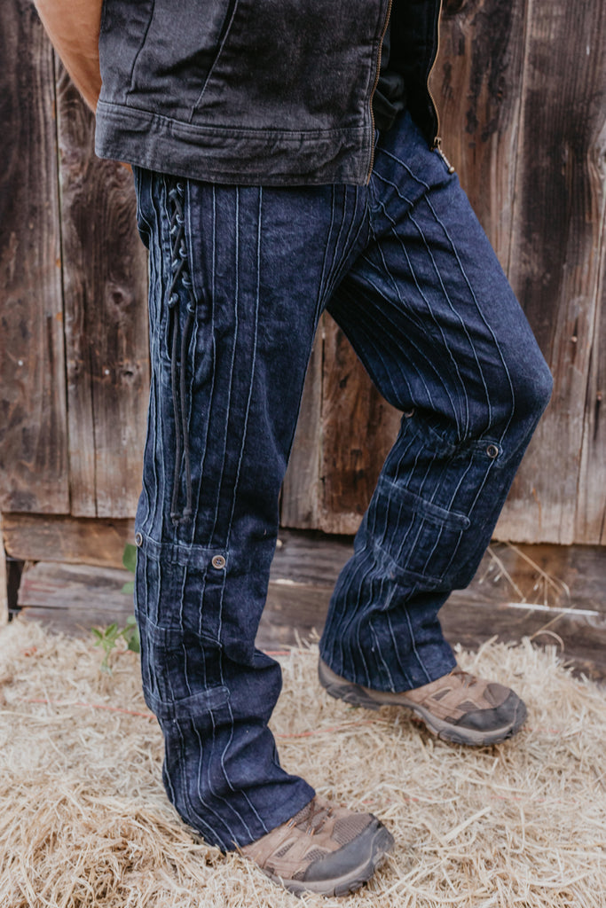 Organic Denim Gaucho Pants - Blue Washed