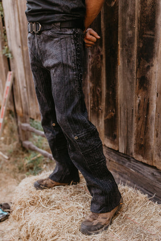Organic Denim Gaucho Pants - Black Washed