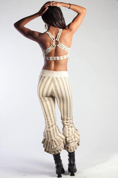 Striped Ruffle Capris - Cream/Gold