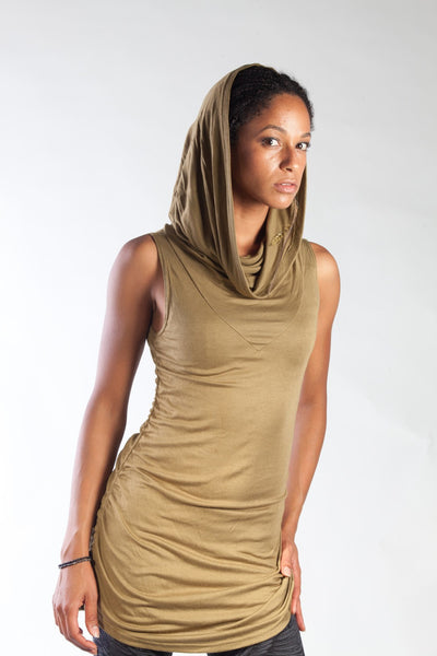 Cowl Neck Shirt - Gold/Moss
