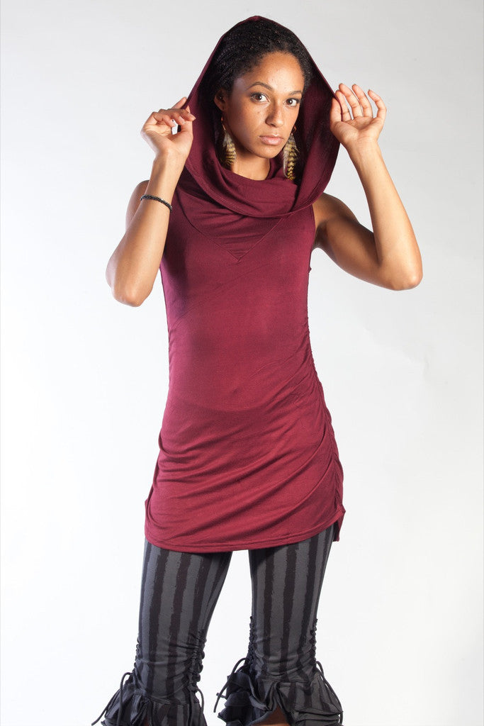 Cowl Neck Shirt - Burgundy