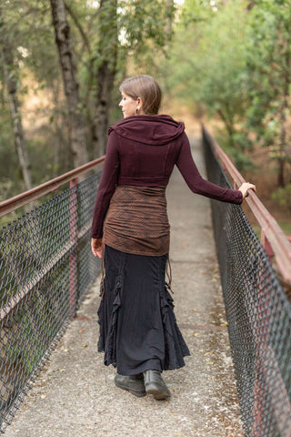 Bamboo Cowl Crop - Plum and Black