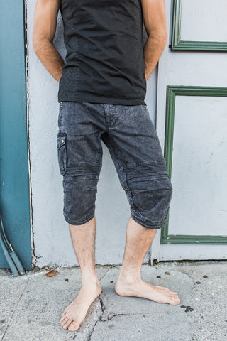 Moto Shorts - Black Wash Org. Denim