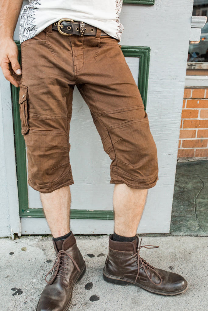 Moto Shorts Wide Leg - Rusty Brown
